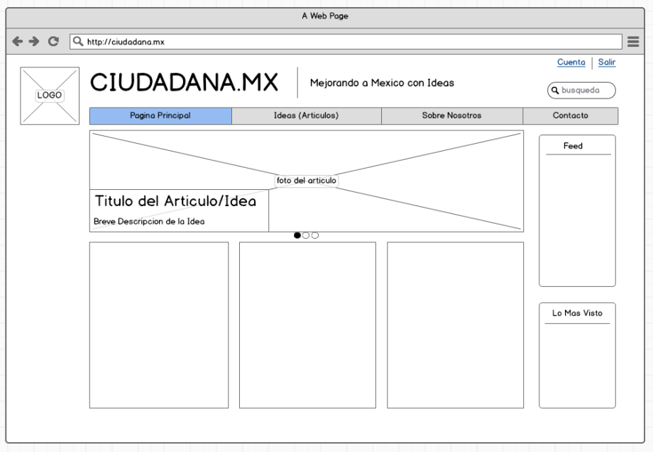 a wireframe of the original website